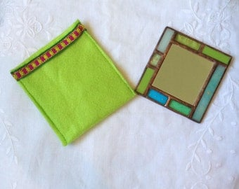 HANDMADE POCKET MIRROR Special Green and Blue Colors with Unique Handcrafted Case.Stained Glass Hand Mirror,Sweet Vitrage Girl/Women's Gift