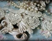 """Tresors   Ivory Lace  Trim, Lace , Guipure Lace, Venice Lace, Bridal Lace, , Lace Applique, Crafting Lace, 3"""" BN-015"""