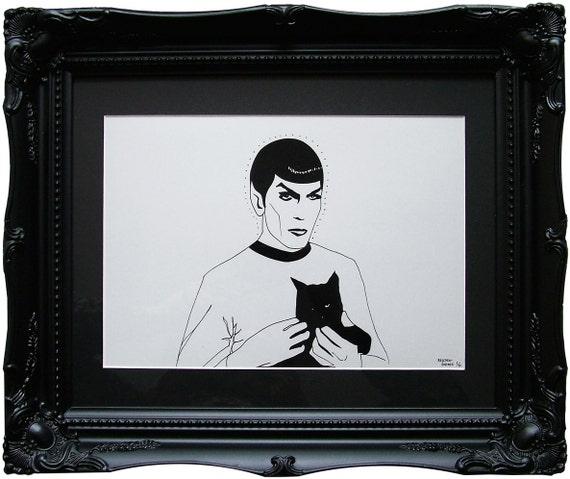 Spock - Limited Edition Print - Star Trek - Black Cat - Trekkie - LLAP - Art - Lowbrow Art - Leonard Nimoy - Vulcan - starfleet