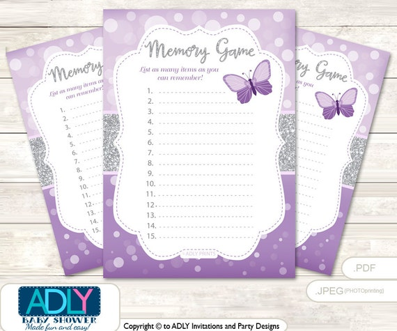 memory game for baby shower printable card for baby butterfly shower
