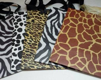 Gift Bags - Jungle/ Safari Animal Print set of 5