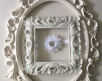 White Chiffon Flower Headband