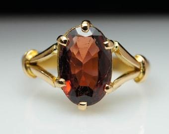 Vintage Oval Cut Natural Almandine Garnet Ring 18k Yellow Gold Estate Almandine Ring Vintage Ring Jewelry
