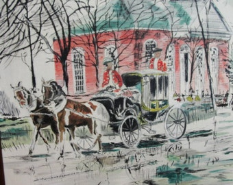 G Hutchinson Mixed Media Painting British wait in Carriage by Church, Colonial Period
