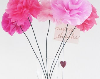 18 amazing tissue paper Flowers - Pink Party Decoration - Wedding - Birthday - Cool sherbet -  Choose any from  50 colors