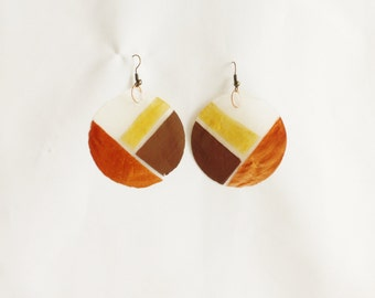 Hand Painted Capiz Shell earrings Women's Fashion Accessories