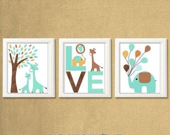 Brown and aqua Nursery Art Print Set, Kids Room Decor, Children Wall Art - giraffe, elephant, love art, balloons, sand, tan, UNFRAMED