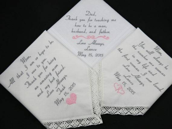 Wedding Gift Ideas Embroidered : Wedding gifts Embroidered Personalized Handkerchiefs by Napa ...