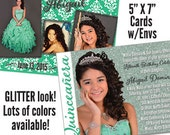 "Qty. 150 Glitter Look Quinceanera Invite 5"" X 7"" printed full color both sides"