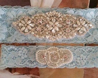 Wedding Garter Set - Pearl and Rhinestone Garter Set on a Light  Blue Lace Garter Set  - Style G207727
