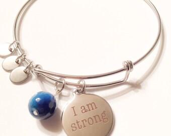 I am strong bangle bracelet, inspirational, strength, agate, strong, strong jewelry, inspirational jewelry, inspire, strong bracelet