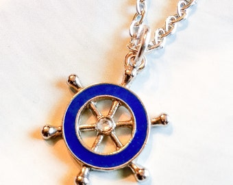At the helm necklace, ships wheel, nautical