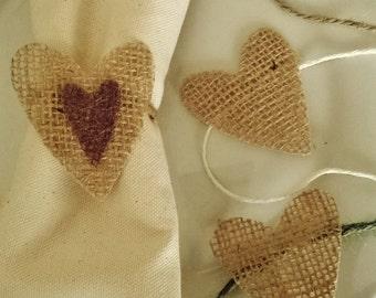 30 Burlap Wedding Napkin Rings, Heart Napkin Rings, Table Decor,Made to Order