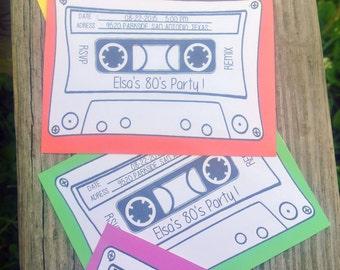 Print at home 80's cassette invitation