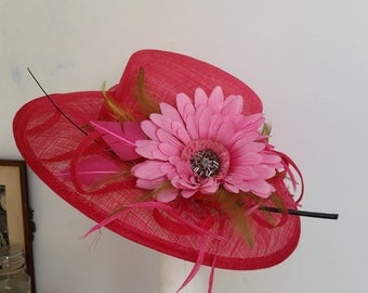 Wide Brim Occasion Hot Pink Hat with Huge Flour and Fhithers for Wedding,Ascot,Proms,Raise