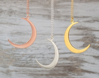 Crescent Moon Necklace Silver Moon Pendant Sterling Silver Moon Jewelry Rose Gold Moon Gold Moon Necklace boho pendant Birthday gift jewelry