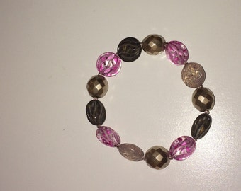 Purple Beaded Bracelet One-of-a-Kind Beaded Bracelets- GRAY W/PURPLE