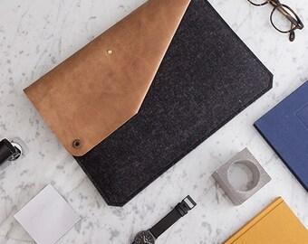 "MacBook Pro 15"" Retina Sleeve leather and felt anthracite [BL]"