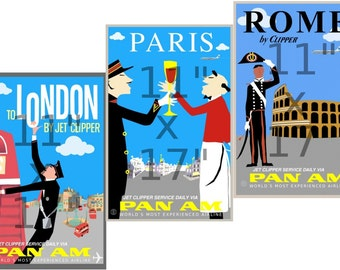 Pan Am - London - Paris - Rome - 11x17 inch - 3 Poster Set