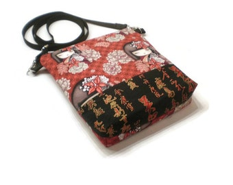 Japanese Dolls crossbody bag, shoulder purse. Black and red.