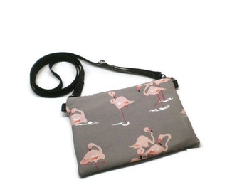 Flamingos mini cell phone cross body purse bag. Pink and Gray.