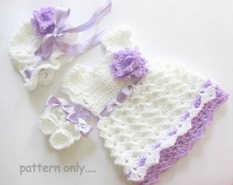 Baby crochet patterns, infant dress pattern,  baby dress ,hat shoes pattern 5 size , infant dress pattern crochet pattern,