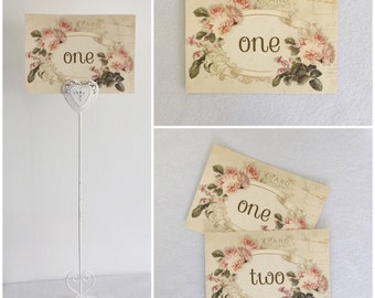 Wedding table cards - Vintage Style Postcard, names numbers your choice! Personalized