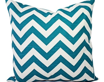 Turquoise Pillow Covers - Two Turquoise Throw Pillow Covers - Decorative Throw Pillow Chevron Pillow Cushion Cover Accent Pillow