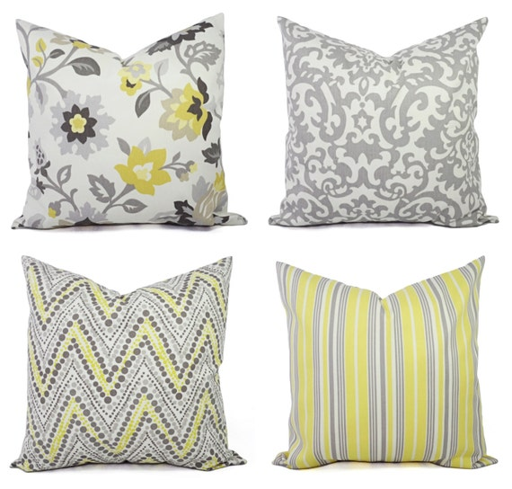Yellow Decorative Pillows For Sofa : One Yellow and Grey Couch Pillow Cover Pick by CastawayCoveDecor