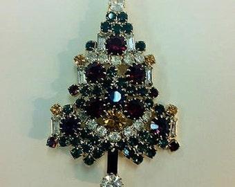 Vintage Costume Jewelry Crystal Christmas Tree Brooch/ Pin