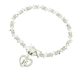 Sterling Silver Sweet 16 Diamonds and Kisses Bracelet (Free Shipping)