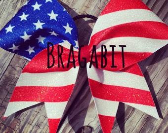 Glitter American flag bow.