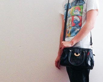 Vintage l'engent multicolor leather and suede crossbody bag