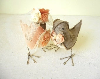 Love Birds Peach Cream Gray Wedding Cake Topper Bride and Groom rustic Mr&Mrs linen fabric figurines