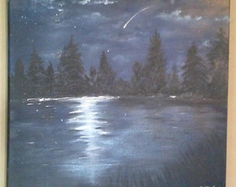 Moonlight over lake