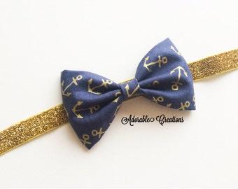 Anchor and gold glitter headband bow headband anchor headband glitter bow glitter headband gold glitter sparkle bow metallic bow metallic hb