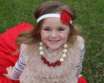 Red and white polka dot shabby headband