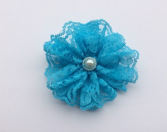 Turquoise lace flower hair clip