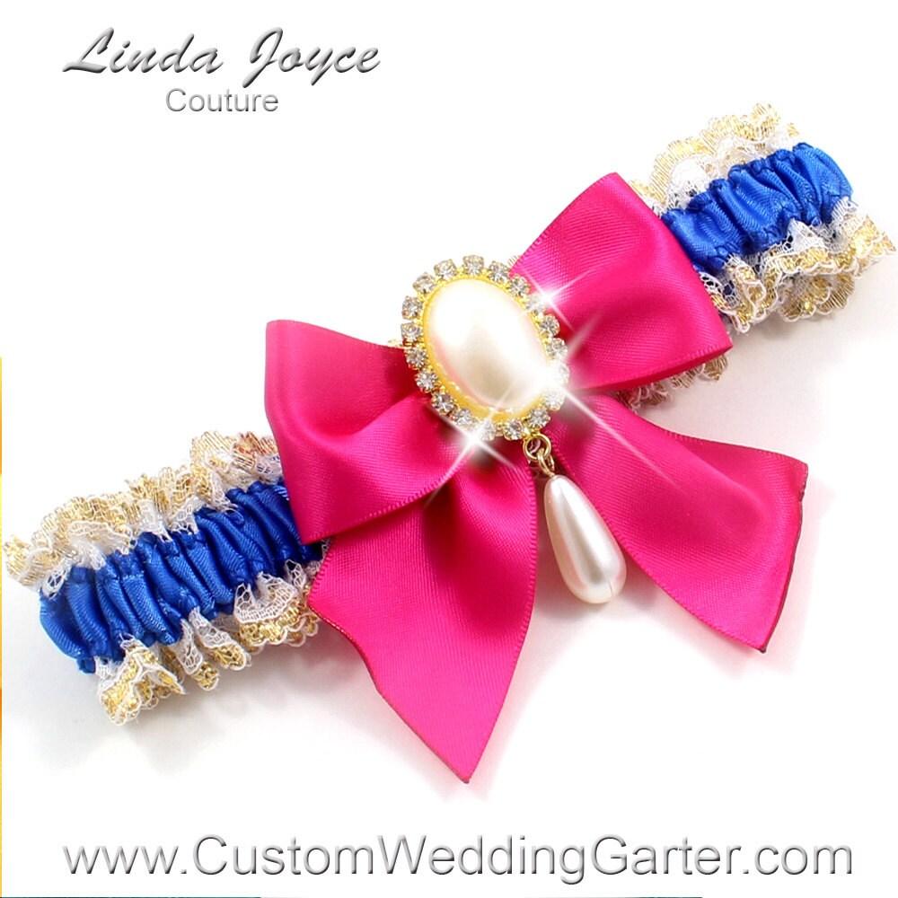 Royal Blue And Hot Pink WEDDING GARTER By CustomWeddingGarter