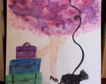 Travel Girl Watercolor