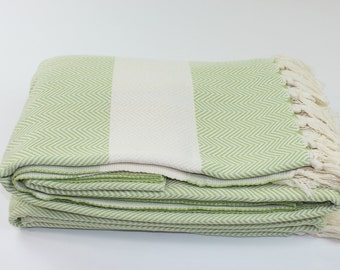 Large Herringbone Beach Blanket, Picnic Blanket,Towel Blanket, Green, Beach Blanket Towel, BEST Quality