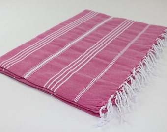 Beach Picnic Oversized Blanket, Beach Towel Blanket, Excellent Quality, 100% Turkish Cotton Fuchsia