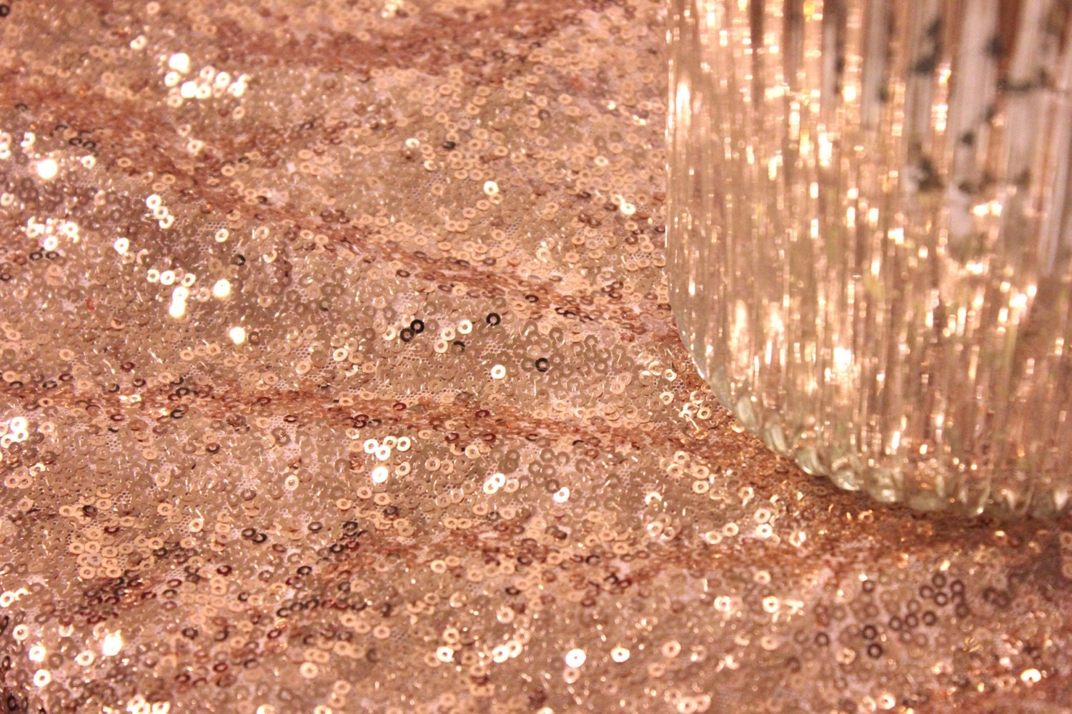 30 Ft. Fabric Bolt Rose Gold Blush Sequin Cloth by SparkleSoiree