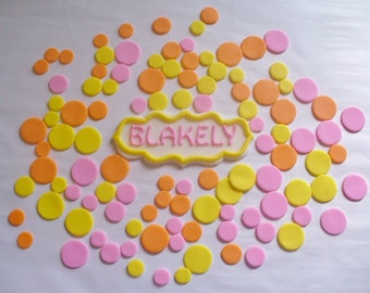 Name Plaque and Polka Dots Edible Fondant Cake Decorations