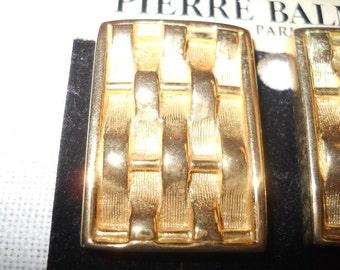 Sale VINTAGE BALMAIN Earrings ORIGINAL Card Unworn Big Bold Beautiful Retro Signed