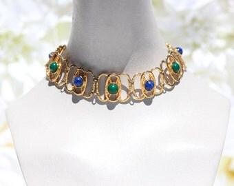 Gold, Blue & Green Bead Chain Chocker