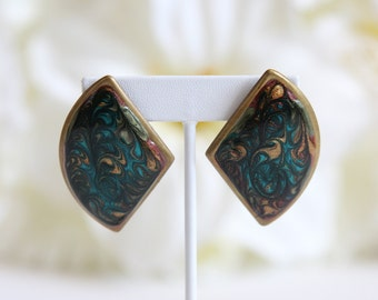 Triangle Teal & Gold Marble Earring