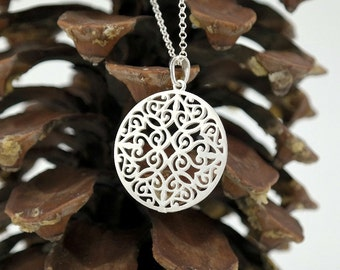 Silver Mandala Necklace, Silver Brushed Pendant, Large Round Silver Charm, Long Chain, Geometric Necklace,Spiritual Jewelry, Boho Necklace.