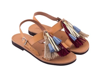 THALATTA TASSELS II,multi-colored leather tassels sandals