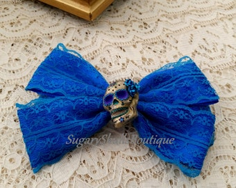Day of the Dead, Sugar Skull, Accessory, Dia de los Muertos, Ribbon Hair Clip Wedding, Blue Lace with Rose, Halloween Costume